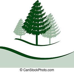 tre, træer, fyrre