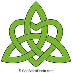trefoldighed, (triquetra), keltisk, knude