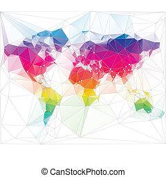 trekant, verden, konstruktion, farvet, kort
