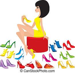 tries, kvinde, unge, sko