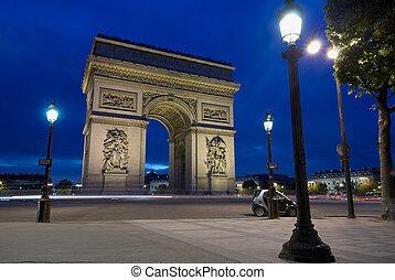 triomphe, charles, af, paris, frankrig, gaulle, bue, sted