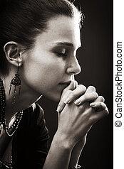 tro, kvinde, -, bøn, religion