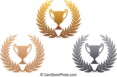 trofæ, kranse, gylden, laurbær, sølv, bronce
