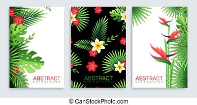 tropisk, blade, plakater, sæt