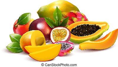 tropisk, bundtet, komposition, frugtagtig