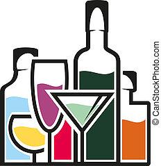 tropisk, cocktails, flasker, alkohol