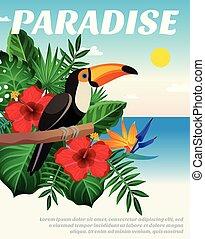 tropisk, farvet, komposition