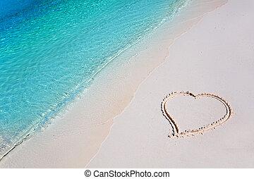 tropisk, hjerte, sand strand, paradis
