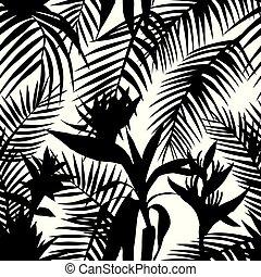 tropisk, hvid, sort, seamless, jungle