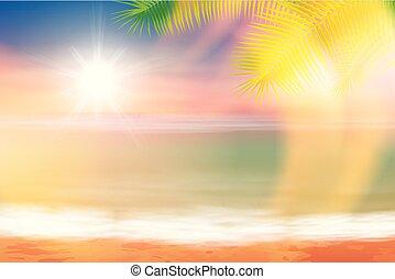 tropisk, sol, klar, strand, hav