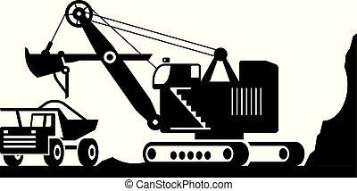 tung, gravemaskine, ore, pligt, lastning, lastbil