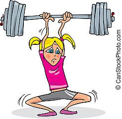 tung, pige, ophævelse, vægt