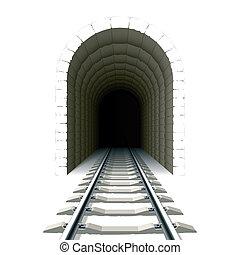 tunnel, indgang, jernbane