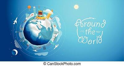 tværs, vektor, verden, vogn., rejsen, rejse, illustration, begreb