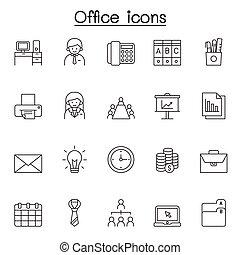 tynd linje, firmanavnet, ikoner kontor, sæt