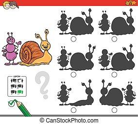 uddannelses, skygge, boldspil, snegl, myre
