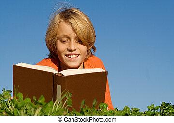 udendørs, læsning, barn, bog, glade