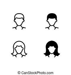 udkast, kvindelig, mandlig, glyph, iconerne, avatars