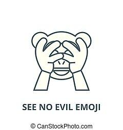 udkast, nej, begreb, symbol, onde, tegn, se, vektor, ikon, beklæde, emoji, lineære