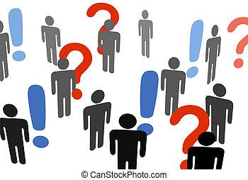 udråb, information, søgen, folk, spørgsmål markerer