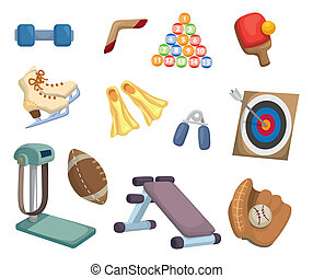 udrustning, sport, cartoon, iconerne