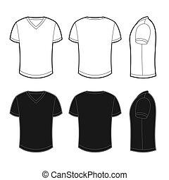 udsigterer, tilbage, forside, t-shirt, blank, side