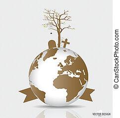 udtørr, globe., deforested, træ, vektor, gemme, verden, illustration.