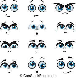 udtryk, adskillige, cartoon, ansigter