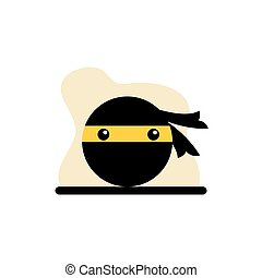udtryk, konstruktion, vektor, ninja, ikon, illustration, begreb