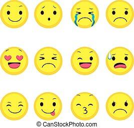 udtryk, samling, emoji