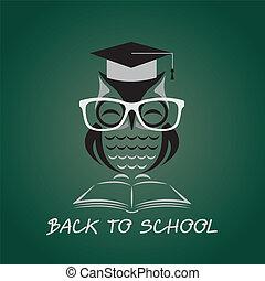 ugle, image, vektor, læreanstalt, hat, bog, glas