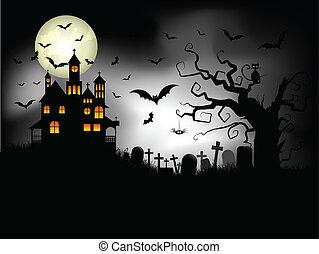 uhyggelige, halloween, baggrund