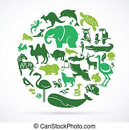uhyre, iconerne, -, samling, grønne, dyr, verden