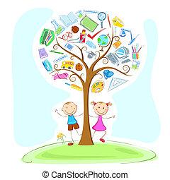 under, børn, træ, klogskaben