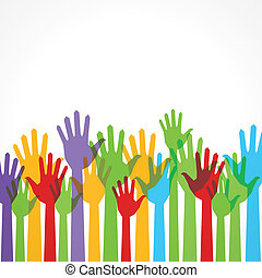 understøttelse, hånd oppe, farverig