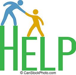 understøttelse, svar, folk, foranstaltning, oppe, grundlæg, hjælp