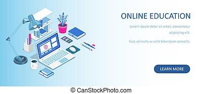 undervisning, banner., home., væv, lejlighed, isometric, vektor, afstand, books., kurser, e-learning, laptop, concept., illustration., online, eller, tutorials, komposition, lærdom