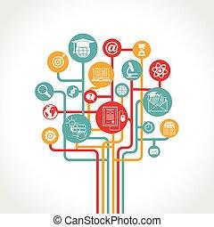 undervisning, træ, online