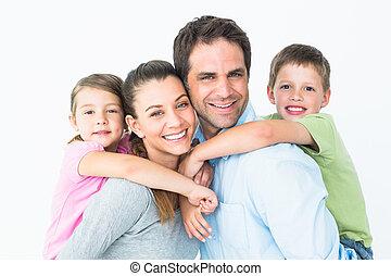 ung kigge, kamera, sammen, familie, glade