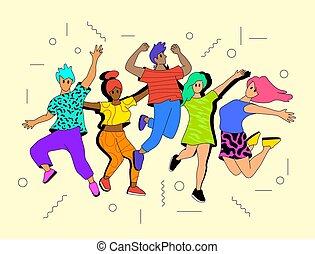 unge mennesker, aktiv, glade, springe
