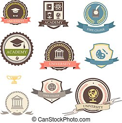 universitet, akademi, heraldiske, emblems, læreanstalt, logo