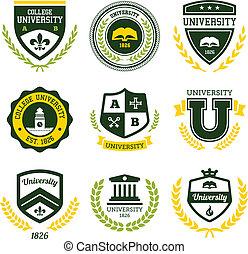universitet, læreanstalt, crests