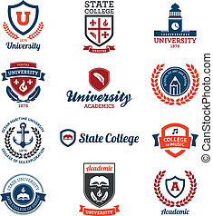universitet, læreanstalt, emblems