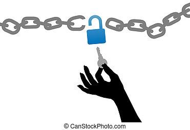 unlock, nøgle, fri, lås, kæde, person, hånd