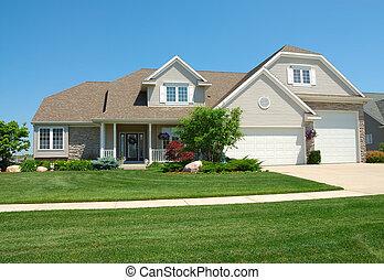 upscale, amerikaner, hus, beboelses