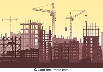 urban, bygninger, kraner, process., site, skyscrapers., konstruktion, under