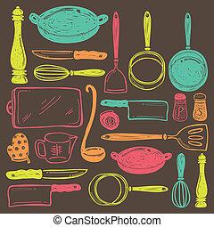 utensil, madlavning, seamless