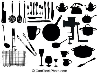 utensil, silhuet, køkken
