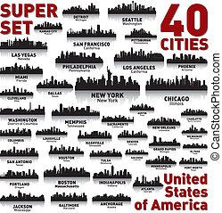 utrolige, fastslår, foren, set., skyline, byen, america.