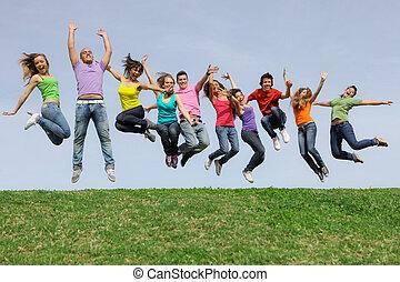væddeløb, gruppe, springe, miscellaneous, blandet, smile glade
